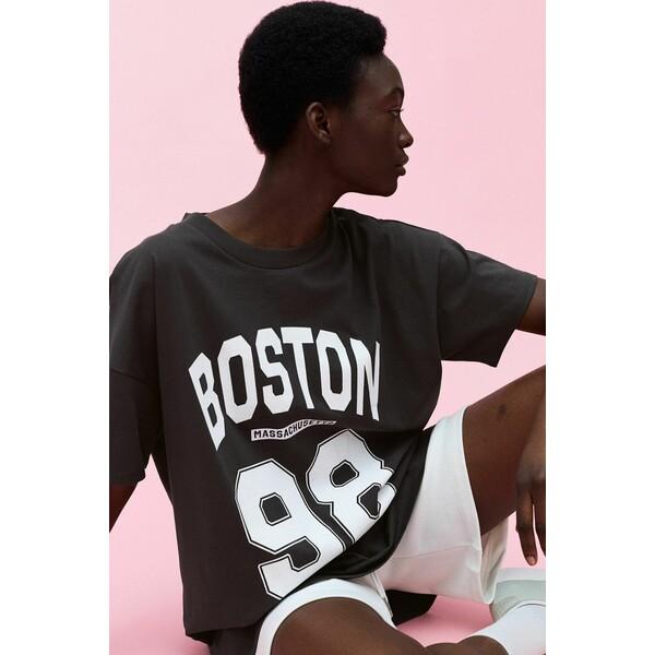 H&M Bawełniana sukienka T-shirtowa 0970633008 Ciemnoszary/Boston