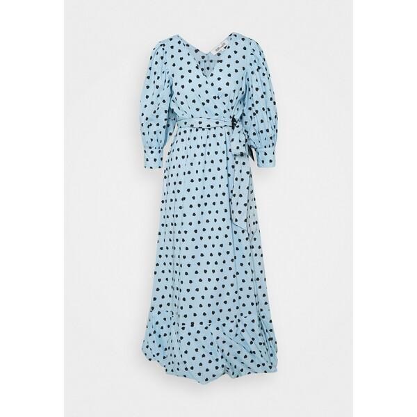 Diane von Furstenberg ULRICA LONG Długa sukienka light blue DF221C086