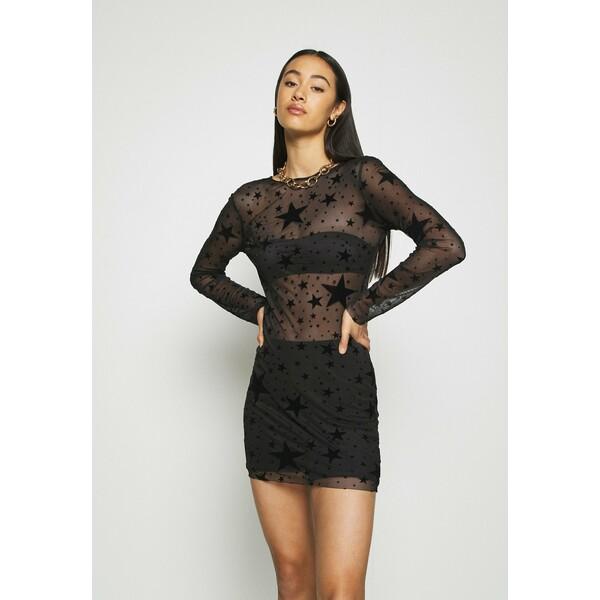 Missguided HALLOWEEN STAR FLOCKED BODYCON DRESS Sukienka etui black M0Q21C1P3