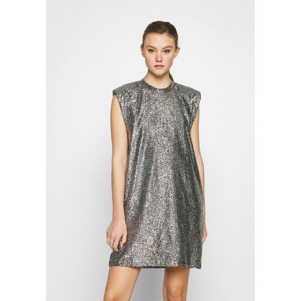 Monki ALVINA BLING DRESS Sukienka koktajlowa silver / black MOQ21C099