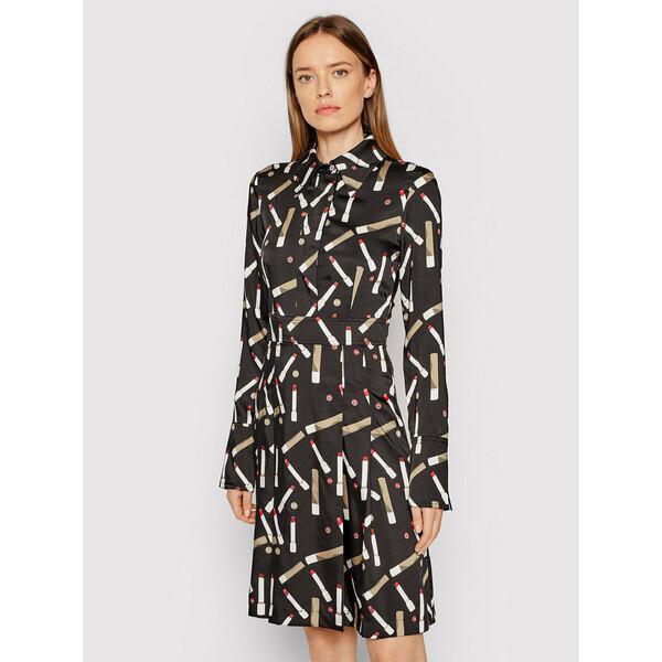 Victoria Victoria Beckham Sukienka koszulowa Printed Poly Twill 2321WDR002989A Czarny Regular Fit