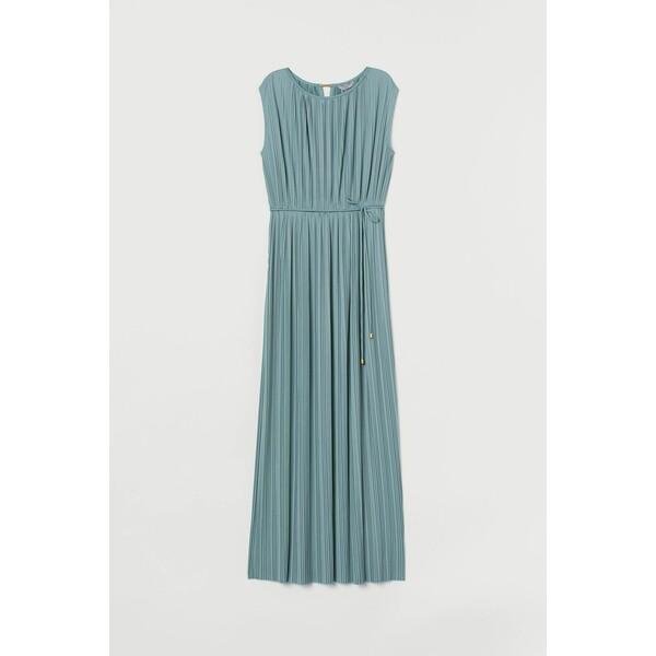 H&M Długa sukienka plisowana 0916558001 Turkusowy