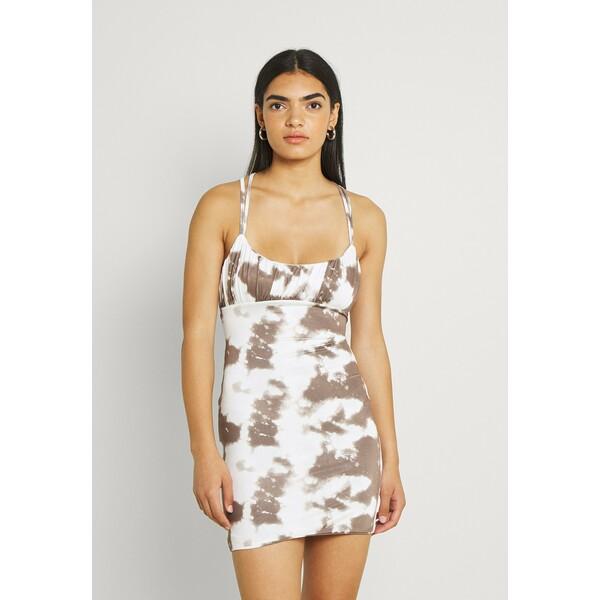 Missguided TIE DYE RUCHED MINI DRESS Sukienka koktajlowa khaki M0Q21C20F