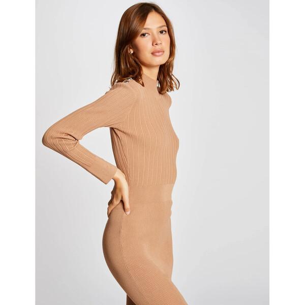 Morgan Sukienka dzianinowa 212-RMLULA Brązowy Slim Fit