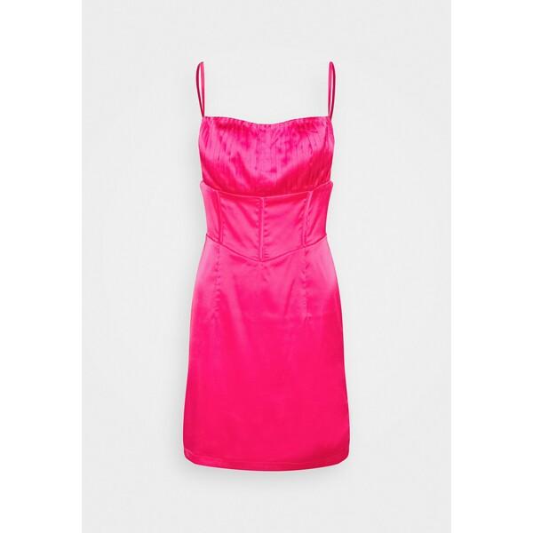 Missguided PLEAT DETAIL STRAPPY BODYCON MINI DRESS Sukienka koktajlowa hot pink M0Q21C1V7