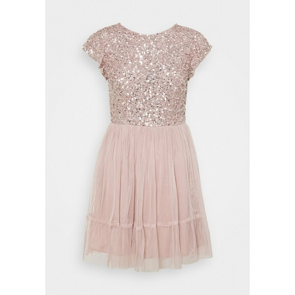 Maya Deluxe DELICATE SEQUIN RUFFLE SLEEVE MINI DRESS Sukienka koktajlowa frosted pink M2Z21C087