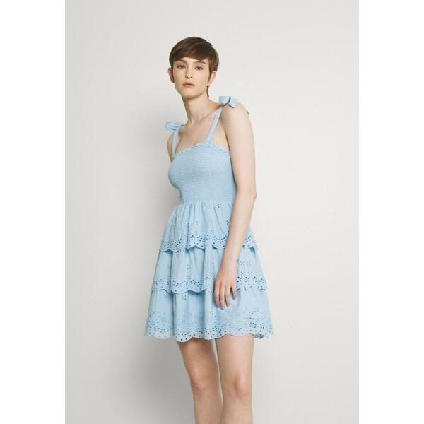 American Eagle SMOCKED TIERED MINI Sukienka letnia blue AM421C020