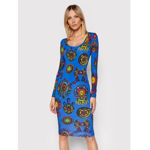 Versace Jeans Couture Sukienka codzienna Fluido Print 71HAO920 Niebieski Slim Fit