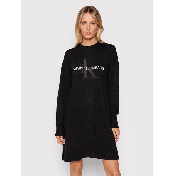 Calvin Klein Jeans Sukienka dzianinowa J20J216740 Czarny Relaxed Fit