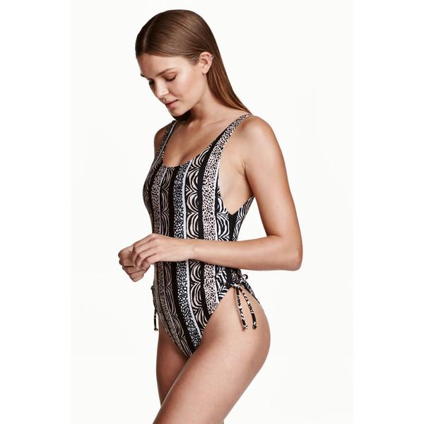 H&M Kostium kąpielowy High leg 0416619006 Czarny/Beżowy wzór