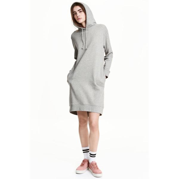 H&M Dresowa sukienka z kapturem 0485045008 Szary melanż