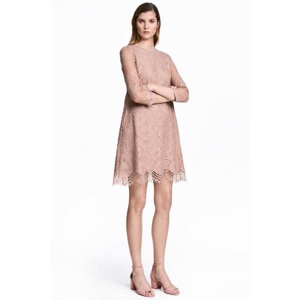 H&M Krótka sukienka z koronki 0521714001 Pudroworóżowy