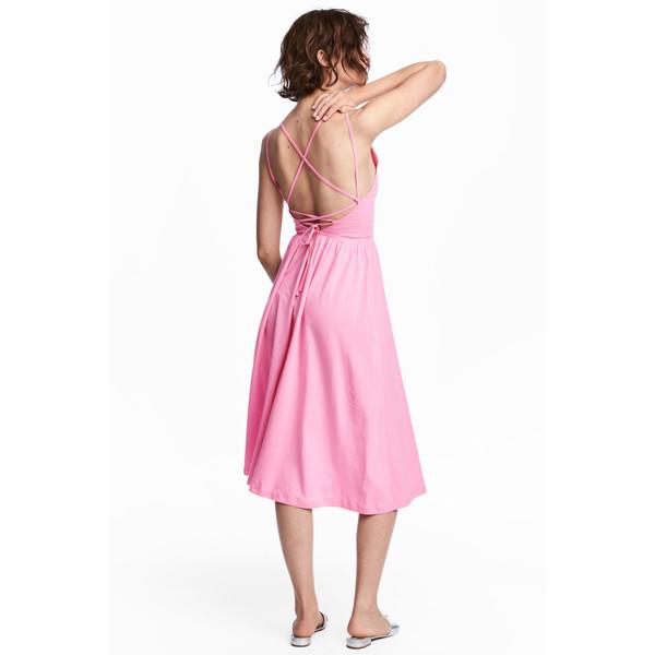 H&M Sukienka z dekoltem w serek 0543777004 Różowy
