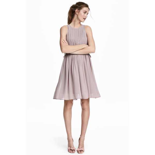H&M Plisowana sukienka z szyfonu 0532449001 Szarofioletowy