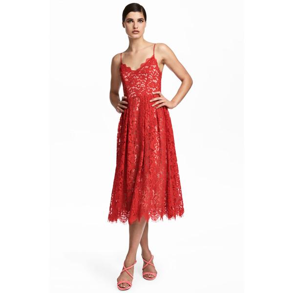 H&M Koronkowa sukienka 0569889001 Czerwony